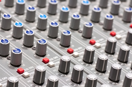 Pro audio mixing board at a recording studio photo