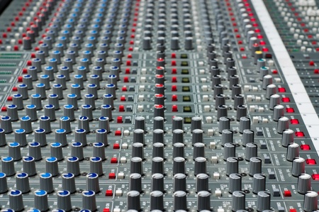 Pro audio mixing board at a recording studio photo