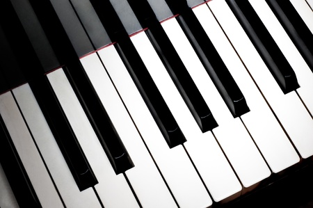 Top view of one octave section of piano keyboard photo