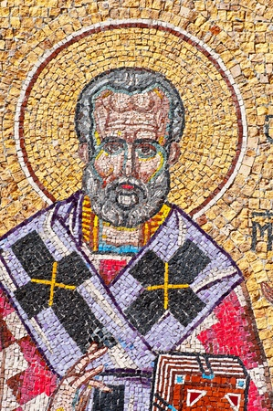 nicolas: Antique colorful mosaic of Saint Nicholas