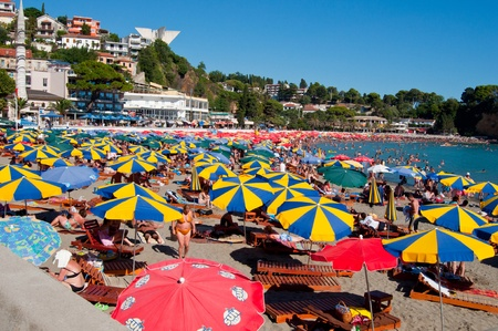 ULCINJ, MONTENEGRO - AUGUST 12: Small, city beach on August 12, 2011 in Ulcinj, Montenegro.