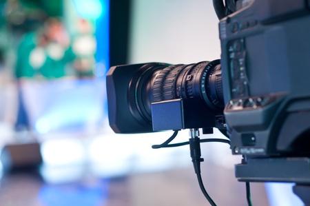 Close-up of professional digital video camera lens