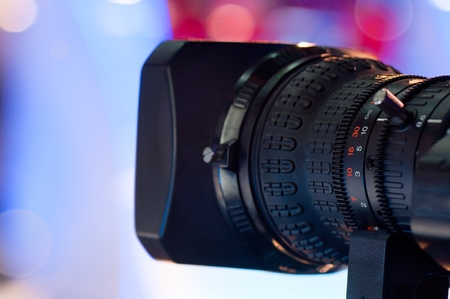 Close-up of professional digital video camera lens