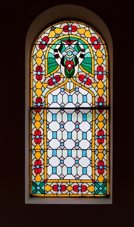 stained glass window from a church in Serbia photo
