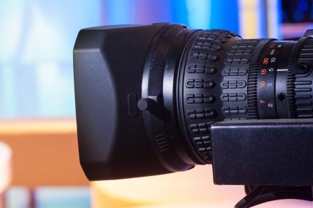 HD cámara de vídeo profesional de diafragmas del objetivo escala Foto de archivo