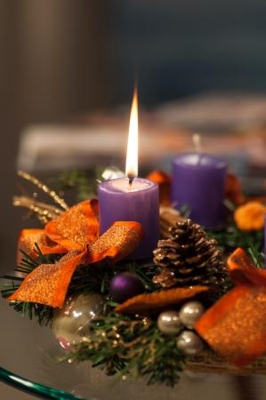 Christmas candles A celebratory composition Stock Photo