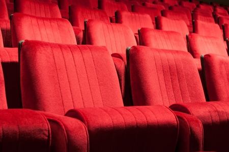 Empty red seats for cinema, theater, conference or concert