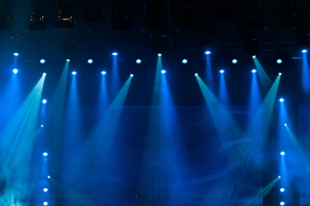 lighting: Blue Stage Lights, light show at the Concert Stock Photo