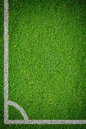 Closeup image of natural green grass soccer field Stock Photo