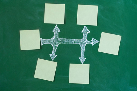flowchart or blank mind map with sticky notes and chalk arrows on chalkboard photo