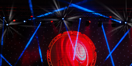 laser lights: Stage lights and Laser rays with smoky effect background