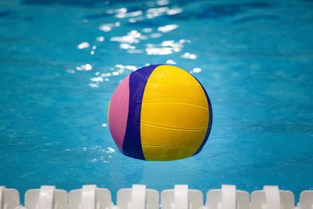 competitive sport: Water polo ball in a swimming pool Stock Photo