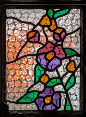 vitrage: KUPUSINA, SERBIA - MARCH 26, 2016 Stained Glass Window of Saint Anne Church, Kupusina, North Serbia The art of multicolored stained glass window for interior design Editorial