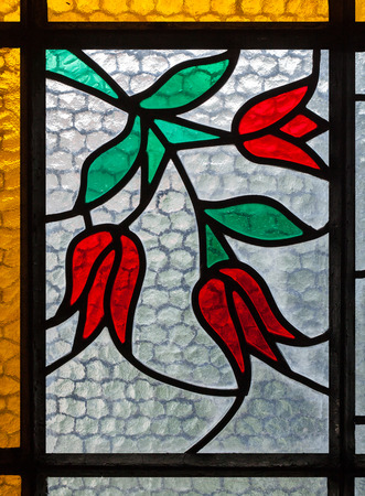 The art of multicolored stained glass window for interior design