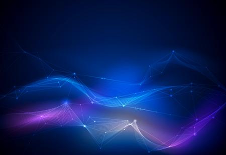 벡터 일러스트 레이 션 분자, 점으로 연결된 라인, 파란색 배경에 기술. 웹 사이트에 대한 추상 인터넷 네트워크 연결 디자인입니다. 디지털 데이터, 통신, 과학 및 미래 개념.