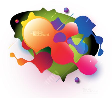 Fondo colorido degradado fluido y líquido de forma 3d abstracto mínimo para diseño, pancarta, póster, plantilla, folleto. Vector de diseño gráfico moderno en color, elementos de patrón dinámico de moda futurista