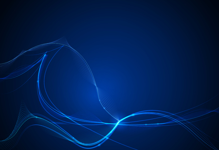 Vector illustration smooth lines in dark blue color background. Hi tech digital technology concept. Abstract futuristic, shiny lines background