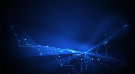 Tecnologia vettoriale su sfondo blu. Illustrazione Progettazione astratta della connessione di rete internet per il sito web. Dati digitali, comunicazione globale, scienza e concetto futuristico