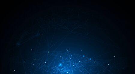 Molécule d'illustration vectorielle, lignes connectées avec des points, technologie sur fond bleu. Conception abstraite de la connexion au réseau Internet pour le site Web. Données numériques, communication, science et concept futuriste