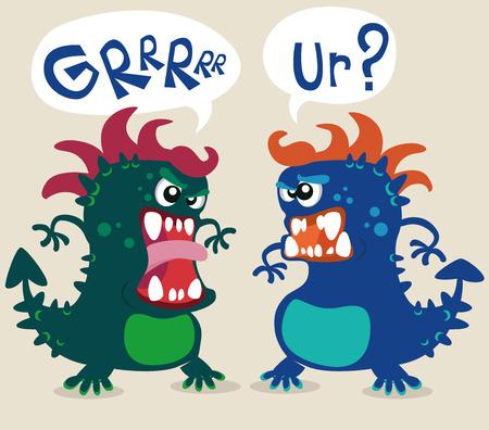 Vector animals: quái vật dễ thương minh họa Hình minh hoạ