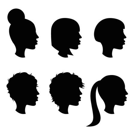 female haircut simple silhouette set