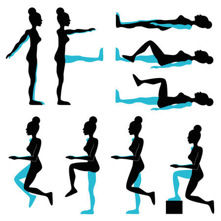 womans fitness pose illustration set