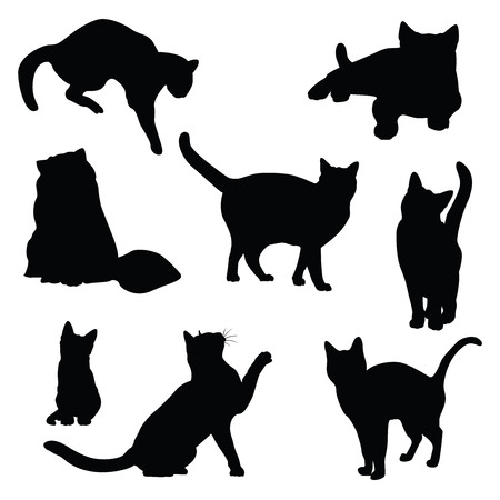 animal vector: cat silhouette vector set