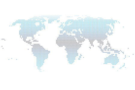 dotted world map gradient Stock Illustratie