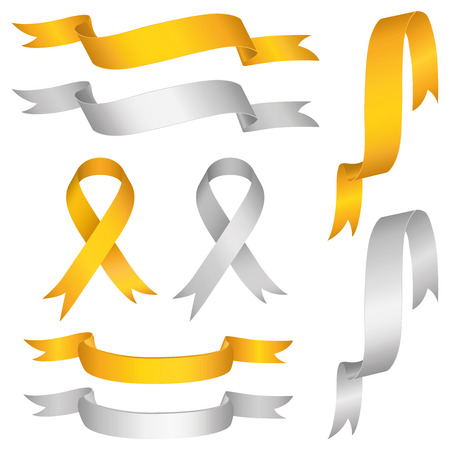 ribbon vector set: silver gold ribbon vector set