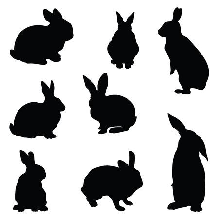 Konijn silhouet illustratie set