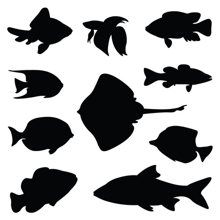 fish silhouette illustration set Vectores