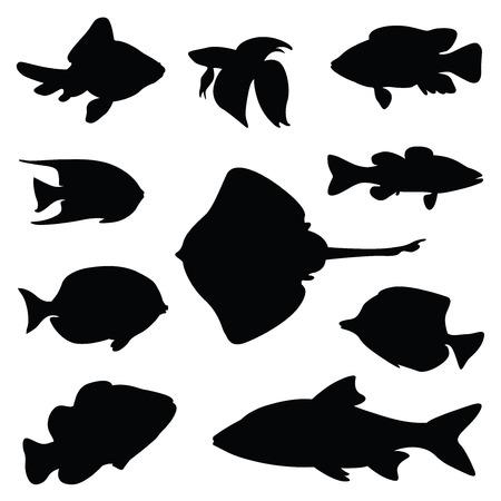 fish silhouette illustration set Stock Illustratie