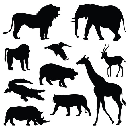 siluetas de elefantes: safari de animales silueta ilustraci�n conjunto Vectores