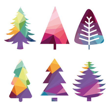 christmas trees: colorful abstract Christmas trees Illustration