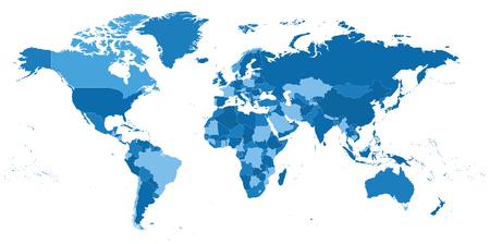 highly detailed political world map illustration