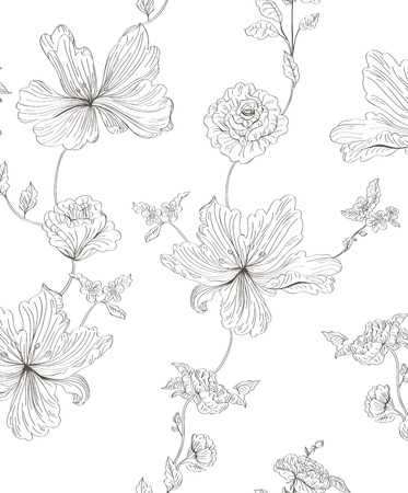 tulips isolated on white background: seamless pattern flowers