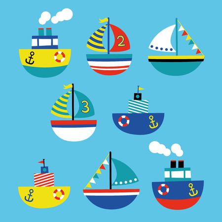boat children style illustration set Ilustracja