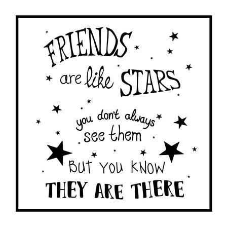 friends inspirational quote Ilustracja