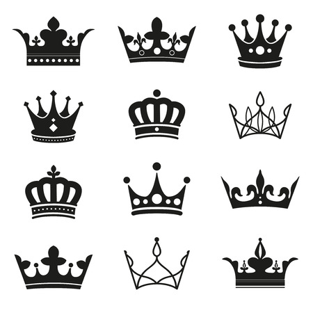 crown silhouette: crown silhouette set Illustration