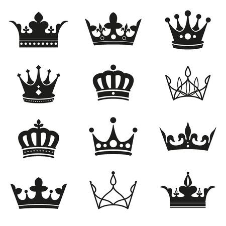 crown silhouette set Ilustracja