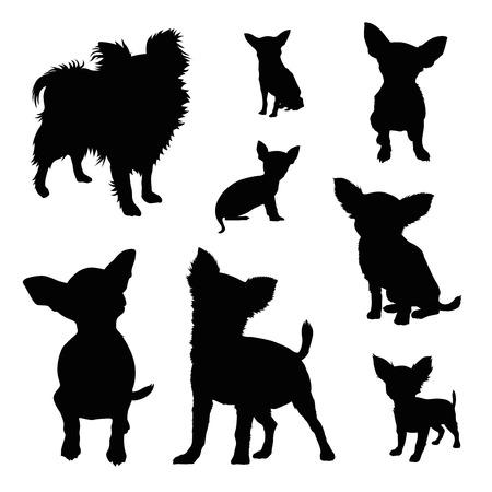 Chihuahua silhouet illustratie set