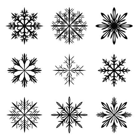snowflake silhouette vector set Ilustracja