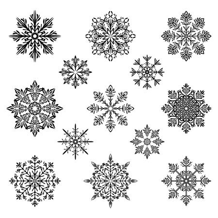 snowflake silhouette vector set 일러스트