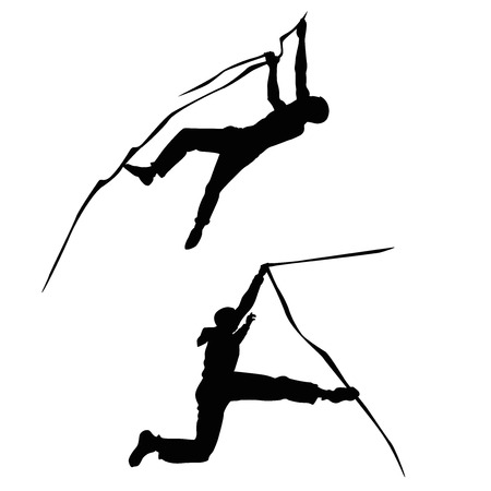 adolescent boy: climber climbing silhouette illustration