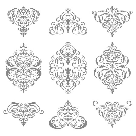filagree: ornate damask ornament set