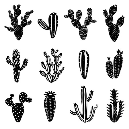 Cactus silhouet illustratie set
