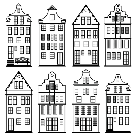 houses silhouette set 일러스트