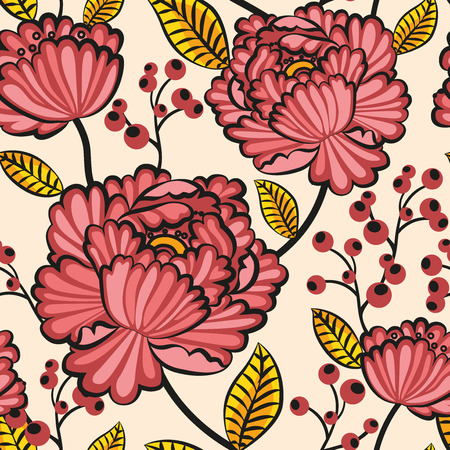 japanese seamless pattern flowers