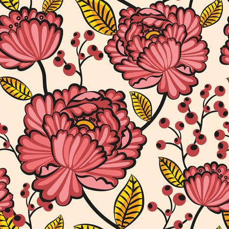 Japanse naadloze patroon bloemen Stock Illustratie