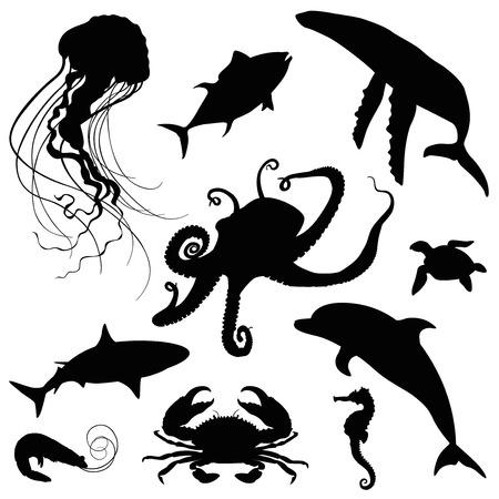 Aquatische oceaan leven silhouet set